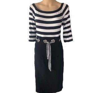 Joseph Ribkoff Black & white striped dress